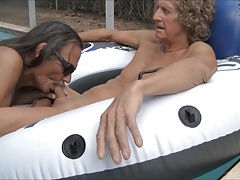 Jamie Blows Jenny Transvestite Cock Slut in the Pool #2