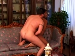 Black poofter gets his mouth and ass slammed in interracial sex clip