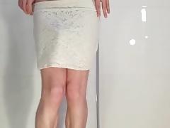 Cute boy in mini high waist skirt strips down totaly naked