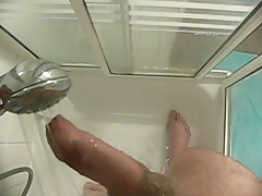 daddy cumming in douche