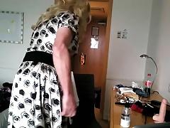 Daniella in satin and the butt plug