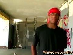 Hot interracial action with do rag thug