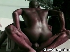 Two black homos fuck in the cowboy pose after ardent oral sex