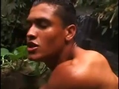 Sexy Latino gets unforgettably fucked by a black dude in the forest