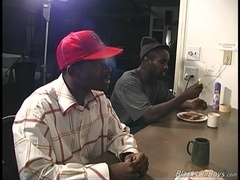 Damien Ford gets his butt fucked by two black gays in the kitchen
