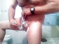 Shaving balls and cock