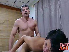 Office stud having anal sex with cute Japanese twink