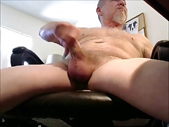 Hairy mature handsome man unloading cum