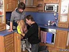 Hetero plumber takes gay cock from behind