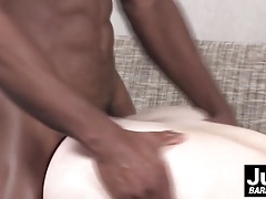Liam Cyber feeds Griffin his huge cock and barebacks his ass