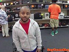 Ebony pawnshop amateur spitroasted for cash