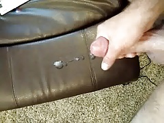 Cum on leather couch