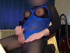 Fake Boobs - posing and fapping in pantyhose suit and body