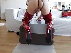 Riding my black dildo wearing red overknee and cum