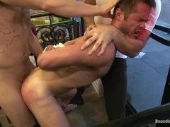 A submissive fairy gets his mouth and ass pounded deep in a shop