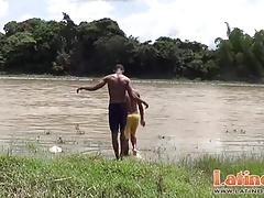 Studly Latin twinks get a boner after a skinny dip
