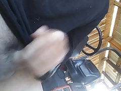 Jacking off in the barn