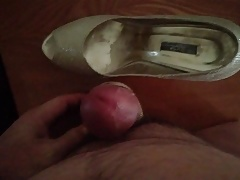 Cumming with my wife's golden peep toe dress shoes