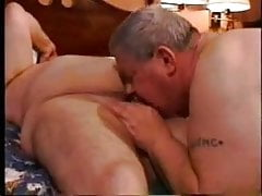 Old mature man sucks another fat old mature grandpa
