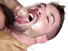A black cock cums in white mouth