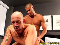 Black dudes slam ass and suck