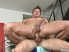Tattooed poofter gets his butt massaged and pounded from behind