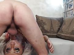 Petite Blonde Tgirl Takes Massive Facial