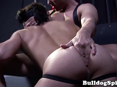 Bottom slut assfucked with toys and bare cock