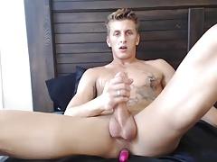 Horny Blonde Monster Enjoys Anal Vibrator While Jerks Off
