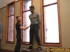 Restrained hunk dominated during edging