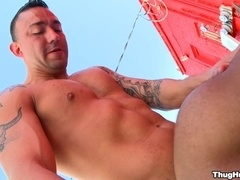 Tattooed homosexual smashes his BF's black ass outdoors