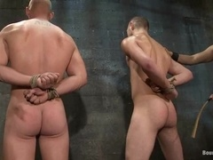 Two gays get bound and pinched in a hot BDSM scene