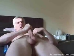 Silver-Haired Sad Masturbates in Bed