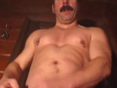 Hot Mustache Daddy Jerks With His Cock Full of Rings
