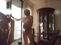 Naughty Gigi - smoking in white bra and panties