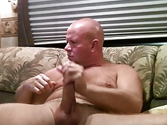 Amazing daddy bear wanking hard
