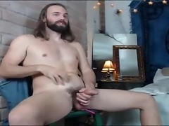 Long haired stoner type with an ohmibod up his ass
