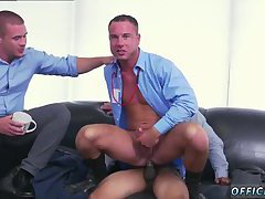 Office hunks threesome fuck