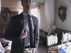 Slim Amateur Dad Strips for the Camera