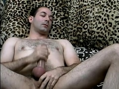 Horny gay daddy masturbates in the morning and takes a shower