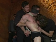A muscular gay gets his dick decorated with clothespegs in BDSM scene