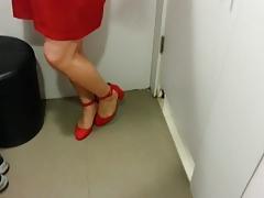 Red Suede Ankle Straps Heels Teaser