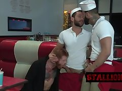 Stiff boners pleasing two guys
