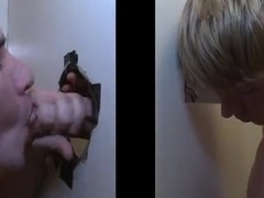 Blond poofter gets his dick sucked through a gloryhole