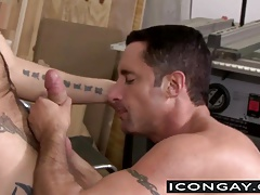 Hottie Ty pushes huge dick into muscled Nick tight ass