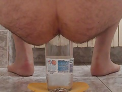 extreme ass insertion with 2 plastic bottles