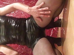 Wet messy play with eggs leather shorts n pantyhose 1st v