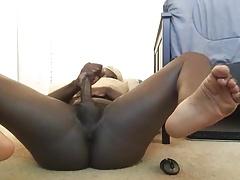legs spread black soles