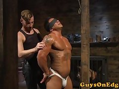 Edged muscle stud caged and dominated
