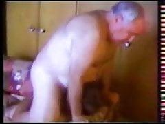 Two older grandpa suck on the sofa
